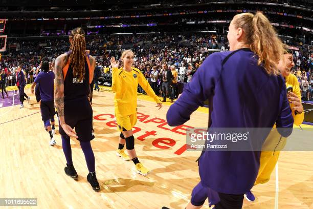Karlie Samuelson of the Los Angeles Sparks highfives Phoenix Mercury after the game on August 5 2018 at The Staples Center in Los Angeles California...