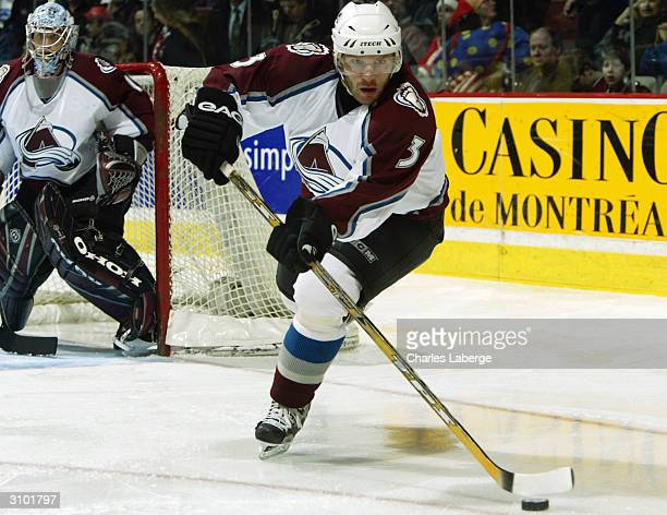 Karlis Skrastins of the Colorado Avalanche caries the puck against the Montreal Canadiens March 16 2004 at the Bell Centre in Montreal Canada