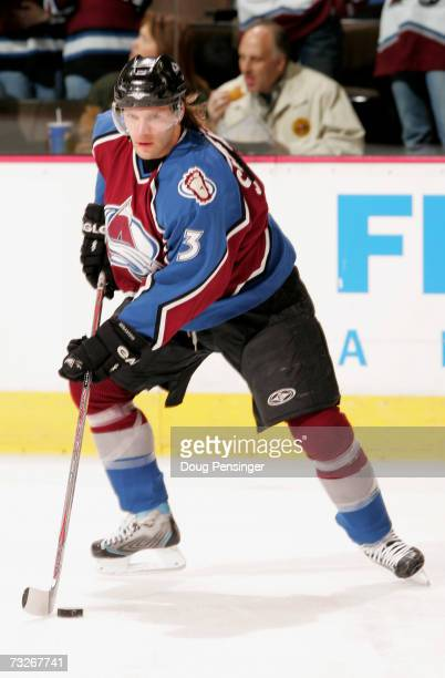 Karlis Skrastins of the Colorado Avalanche warms up during pregame skate as he prepares to break an NHL record as he will skate in his 487th...