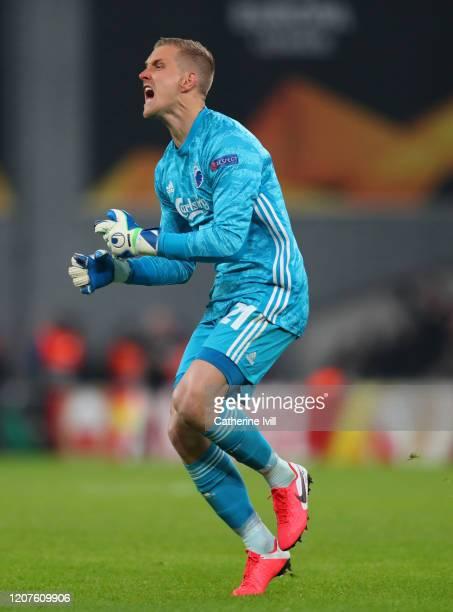Karl-Johan Johnsson of FC Copenhagen during the UEFA Europa League Round of 32 first leg match between FC Kobenhavn and Celtic FC at Telia Parken on...