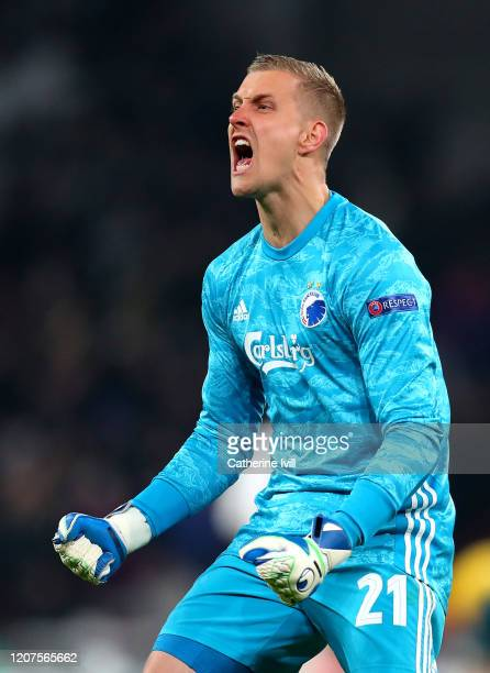 KarlJohan Johnsson of FC Kobenhavn celebrates his sides first goal during the UEFA Europa League round of 32 first leg match between FC Kobenhavn and...