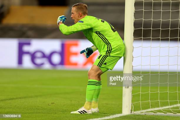 Karl-Johan Johnsson of FC Kobenhavn gives his teammates instructions during the UEFA Europa League Quarter Final between Manchester United and FC...