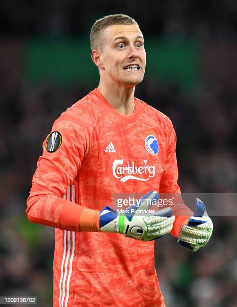 Karl-Johan Johnsson of FC Kobenhavn in action during the UEFA Europa League round of 32 second leg match between Celtic FC and FC Kobenhavn at Celtic...
