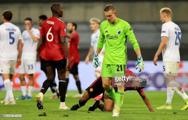 Karl-Johan Johnsson of FC Kobenhavn reacts after penalty is given during the UEFA Europa League Quarter Final between Manchester United and FC...