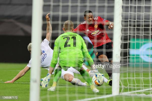 Karl-Johan Johnsson of FC Kobenhavn saves a shot from Anthony Martial of Manchester United during the UEFA Europa League Quarter Final between...