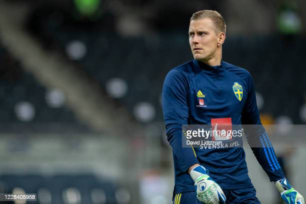 Karl-Johan Johnsson of Sweden during warm up ahead of the UEFA Nations League group stage match between Sweden and Portugal at Friends Arena on...
