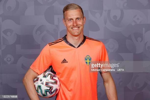 Karl-Johan Johnsson of Sweden poses during the official UEFA Euro 2020 media access day on June 03, 2021 in Stockholm, Sweden.