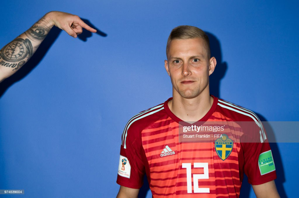 Karl-Johan Johnsson of Sweden poses for a photograph during the official FIFA World Cup 2018 portrait session at on June 13, 2018 in Gelendzhik, Russia.