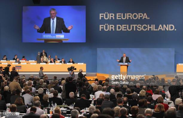 KarlJosef Laumann speaks on the subject of a national minimum wage at the 24th Party Congress of the German Christian Democrats on November 14 2011...