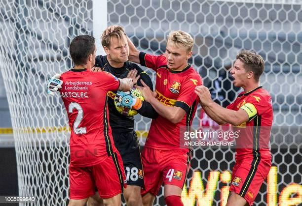 Karlo Bartolec of FC Nordsjaelland goalkeeper Nicolai Larsen Victor Nelsson and Mads Mini Pedersen celebrate after the penalty shootout during the...