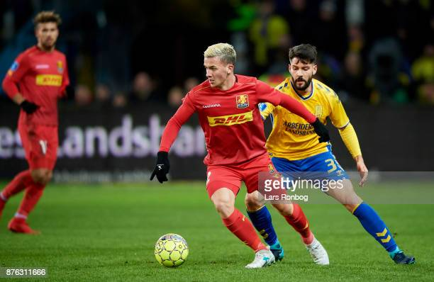 Karlo Bartolec of FC Nordsjalland and Anthony Jung of Brondby IF compete for the ball during the Danish Alka Superliga match between Brondby IF and...