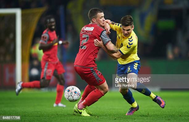 Karlo Bartolec of FC Nordsjalland and Gregor Sikosek of Brondby IF compete for the ball during the Danish Alka Superliga match between Brondby IF and...
