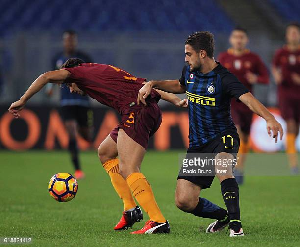Karlo Butic of FC Internazionale competes for the ball with Riccardo Marchizza of AS Roma during the Primavera Supercup final match between AS Roma...