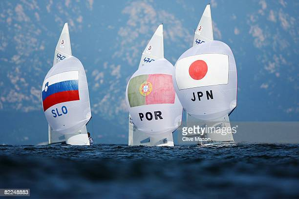 Karlo Hmeljak and Mitja Nevecny of Slovenia Alvaro Marinho and Miguel Nunes of Portugal and Tetsuya Matsunaga and Taro Ueno of Japan compete in the...