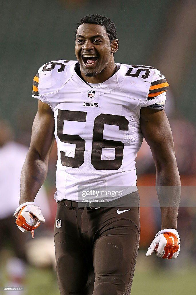 Karlos Dansby #56 of the Cleveland Browns celebrates after drafting the Cincinnati Bengals 24-3 at Paul Brown Stadium on November 6, 2014 in Cincinnati, Ohio.
