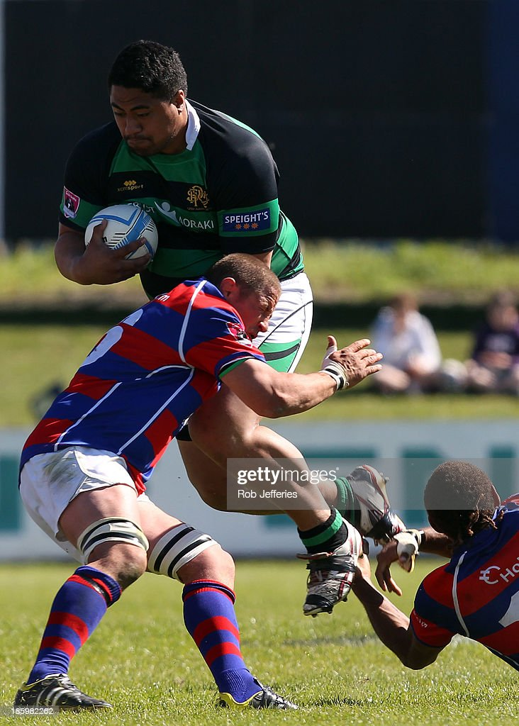 Karlos Tuiloma of South Canterbury on the attack during the Lochore Cup Final match between South Canterbury and Buller at Alpine Energy Stadium on October 27, 2013 in Timaru, New Zealand.