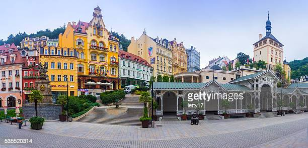 karlovy vary market colonnade panorama - karlovy vary stock pictures, royalty-free photos & images