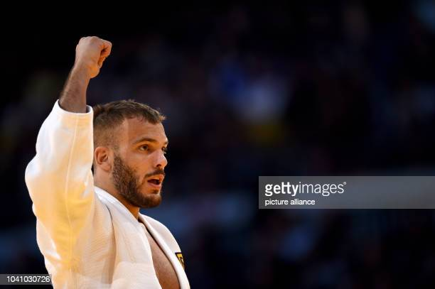 KarlRichard Frey celebrates after the men's up to 100 kg body weight competition at the Judo Grand Prix in the Mitsubishi Electric Hall in...