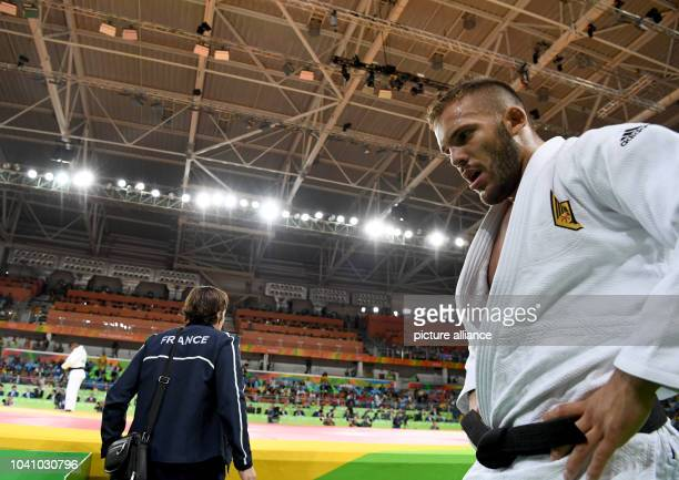 KarlRichard Frey of Germany against Miklos Cirjenics of Hungary during the Men 100 kg Elimination Round of 32 of the Judo events during the Rio 2016...