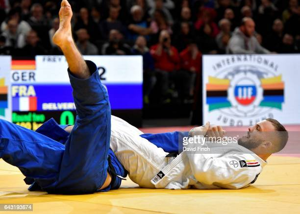 KarlRichard Frey of Germany armlocks Clement Delvert of France into submission for an ippon to win their u100kg round two contest during the 2017...