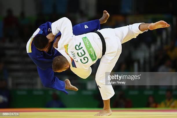 KarlRichard Frey of Germany competes against Artem Bloshenko of Ukraine during the men's 100kg elimination round judo contest on Day 6 of the 2016...