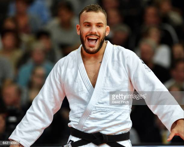 KarlRichard Frey of Germany defeated Baboukar Mane of Senegal with a strangle for an ippon winning their u100kg round three contest during the 2017...