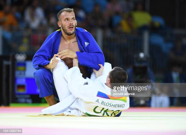 KarlRichard Frey of Germany in action against Artem Bloshenko of Ukraine during the Men 100 kg Quarterfinal of the Judo events during the Rio 2016...