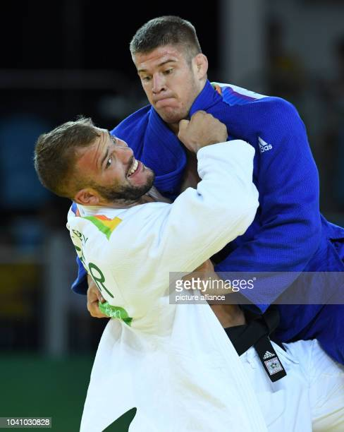 KarlRichard Frey of Germany in action against Miklos Cirjenics of Hungary during the Men 100 kg Elimination Round of 32 of the Judo events during the...