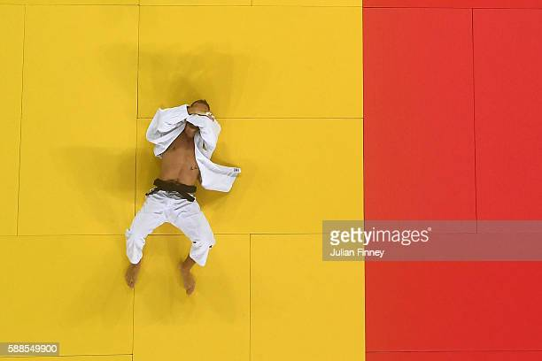 Karl-Richard Frey of Germany reacts after being defeated by Cyrille Maret of France in the men's -100kg bronze medal judo contest on Day 6 of the...