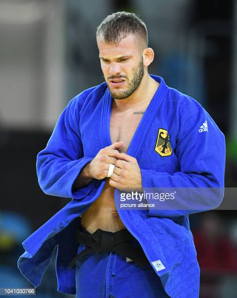 KarlRichard Frey of Germany reacts against Artem Bloshenko of Ukraine during the Men 100 kg Quarterfinal of the Judo events during the Rio 2016...