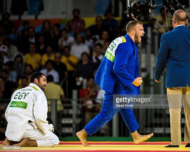 KarlRichard Frey of Germany screams loudly after throwing Ramadan Darwish of Egypt for an ippon to reach the u100kg bronze medal contest during day 6...