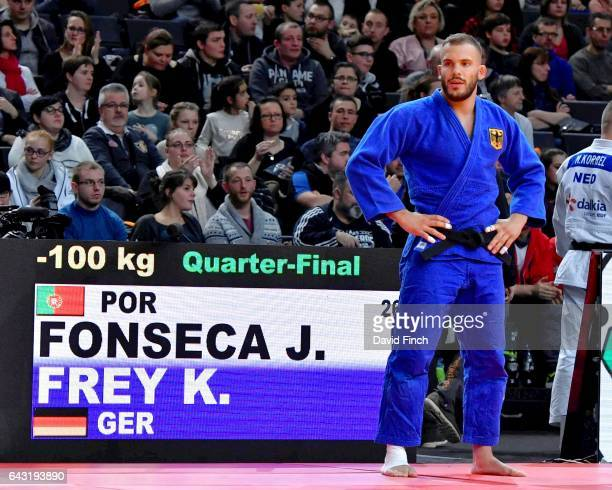 KarlRichard Frey of Germany waits to be called forward against Jorge Fonseca of Portugal whyo he lost to by an ippon in their u100kg quarterfinal...
