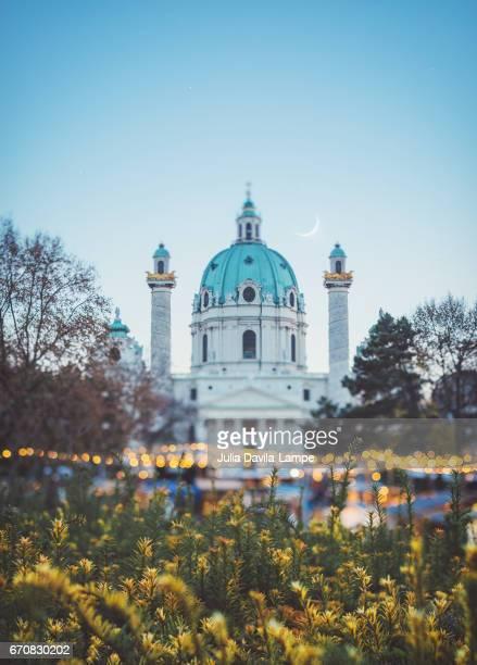 Karlskirche and christmas lights.