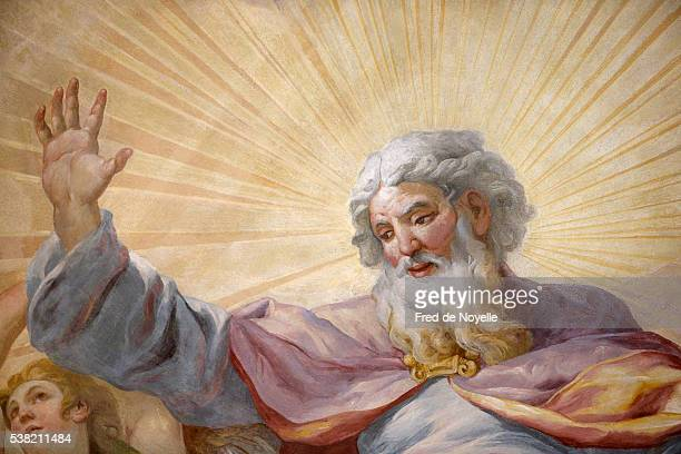 karlskirche (st. charles's church). dome fresco by johann michael rottmayr. god. - god stock pictures, royalty-free photos & images