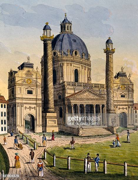 Karlskirche or Church of St Charles Borromeo in Vienna Austria 18th century