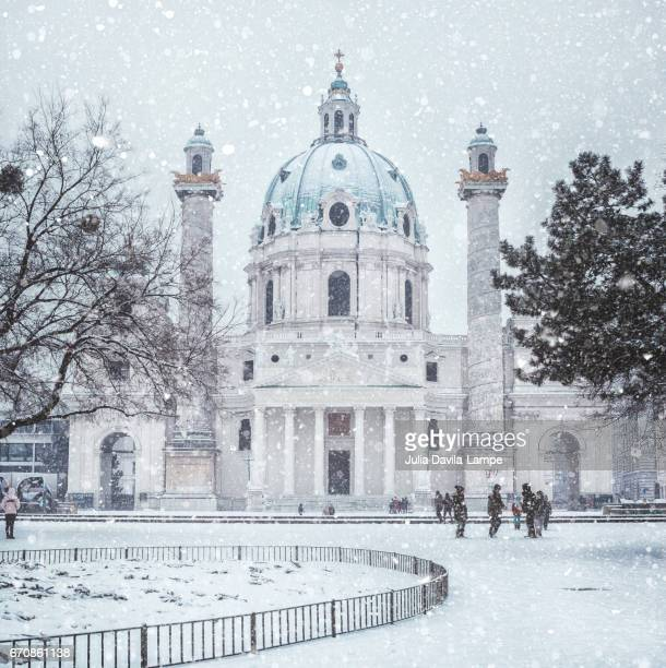 Karlskirche/St Charles Church in Vienna in snow.
