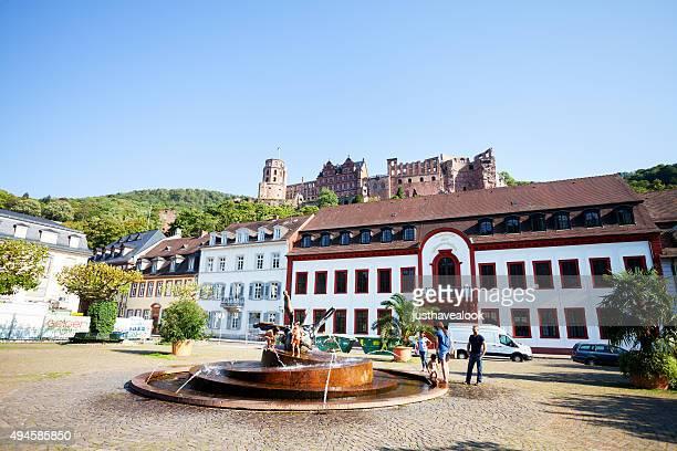 Karlsplatz and castle Heidelberg