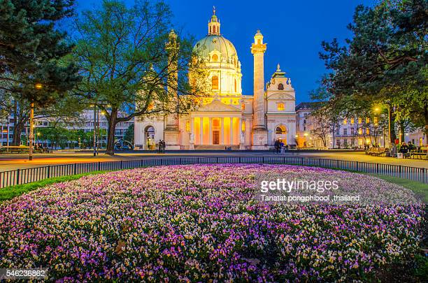 Karlsplatz at Night in Vienna, Austria
