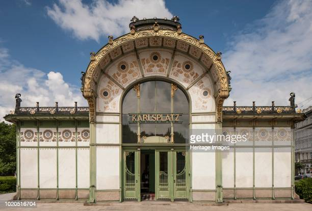Karlsplatz Station Vienna Austria 2015 Designed by Otto Wagner and Joseph Maria Olbrich in 1898 the building was included in The Vienna Secession as...