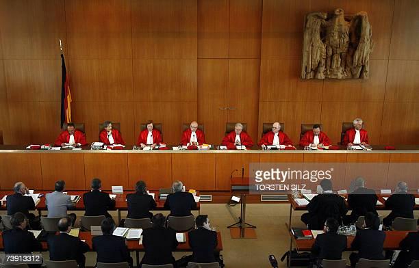 Judges of the second senate of Germany's Federal Constitutional Court Herbert Landau Gertrude LuebbeWolff Lerke Osterloh Udo Di Fabio Winfried...