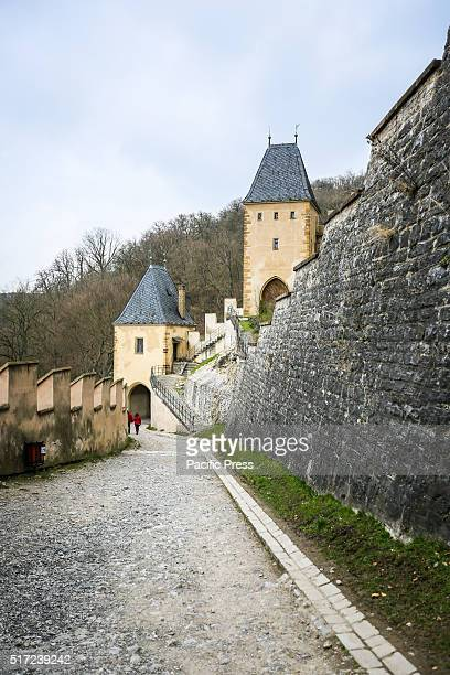 Karlstejn Castle or Karlstejn Czech Republic 14th century Karltejn Castle is a large Gothic castle founded 1348 CE by Charles IV Holy Roman...