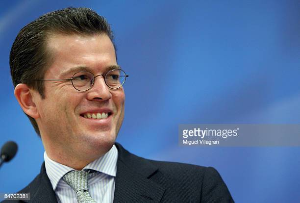 KarlTheodor zu Guttenberg General Secretary of the Christian Social Union addresses the media during a news conference on February 9 2009 in Munich...