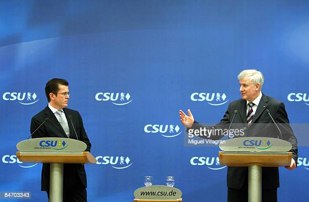 KarlTheodor zu Guttenberg General Secretary of the Christian Social Union and Bavarian state Governor Horst Seehofer address the media during a news...