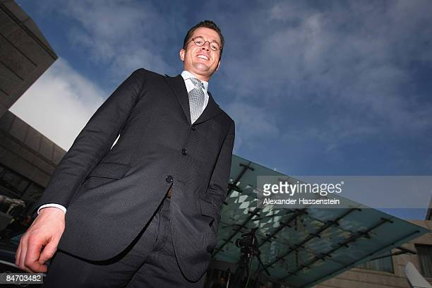 KarlTheodor zu Guttenberg General Secretary of the Christian Social Union looks on after a news conference on February 9 2009 in Munich Germany...
