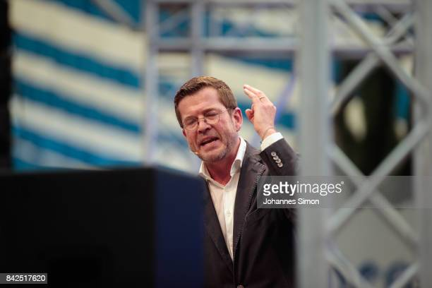 KarlTheodor zu Guttenberg of the Christlich Soziale Union delivers a speech at the Gillamoos amusement fair on September 4 2017 in Abensberg Germany...