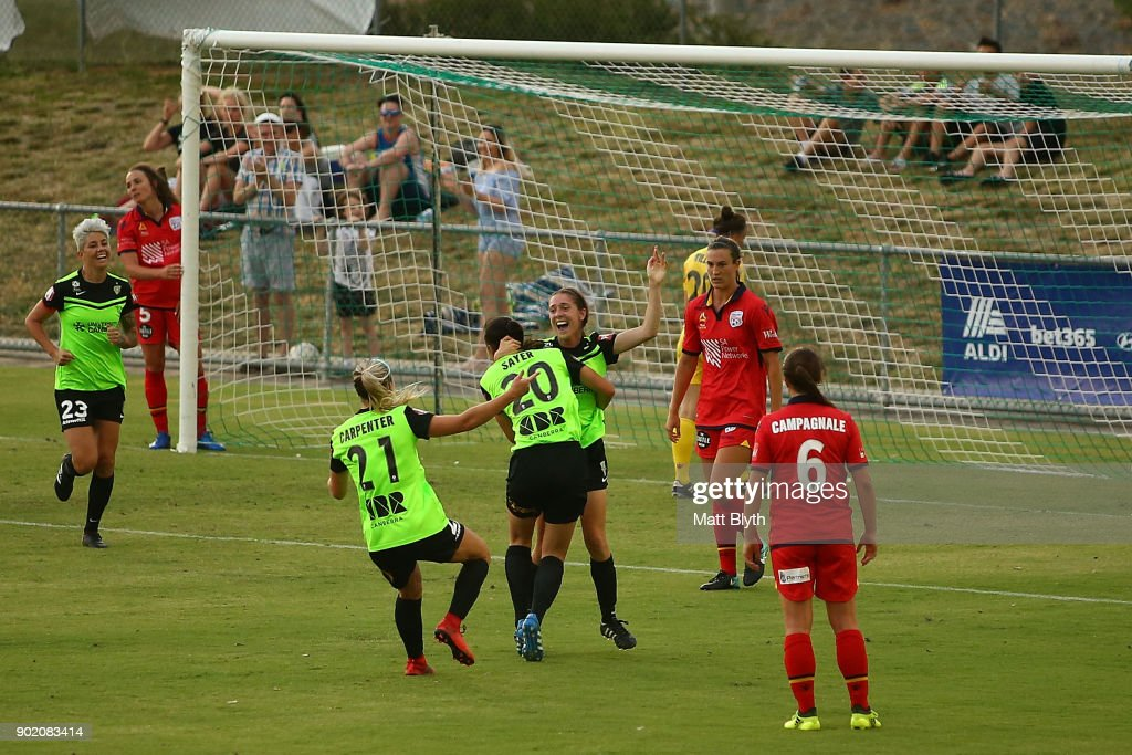 Karly Rosetbakken of Canberra United FC celebrates scoring a goal during the round 10 W-League match between Canberra United and Adelaide United at McKellar Park on January 7, 2018 in Canberra, Australia.