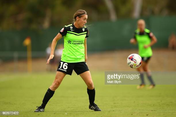 Karly Rosetbakken of Canberra United FC controls the ball during the round 10 WLeague match between Canberra United and Adelaide United at McKellar...