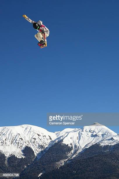 Karly Shorr of the United States trains during Snowboard Slopestyle practice at the Extreme Park at Rosa Khutor Mountain ahead of the Sochi 2014...
