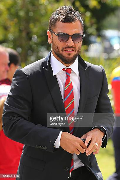 Karmichael Hunt arrives at the round 23 AFL match between the Gold Coast Suns and the West Coast Eagles at Metricon Stadium on August 31 2014 in Gold...