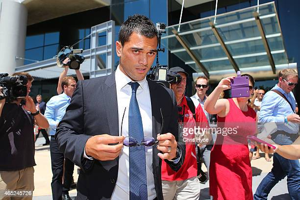 Karmichael Hunt leaves Southport Magistrates Court after being fined $2500 after pleading guilty to four charges of cocaine possession on March 5...